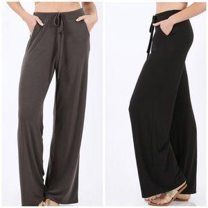 Pants - Tie-Waist Lounge Pants - Black